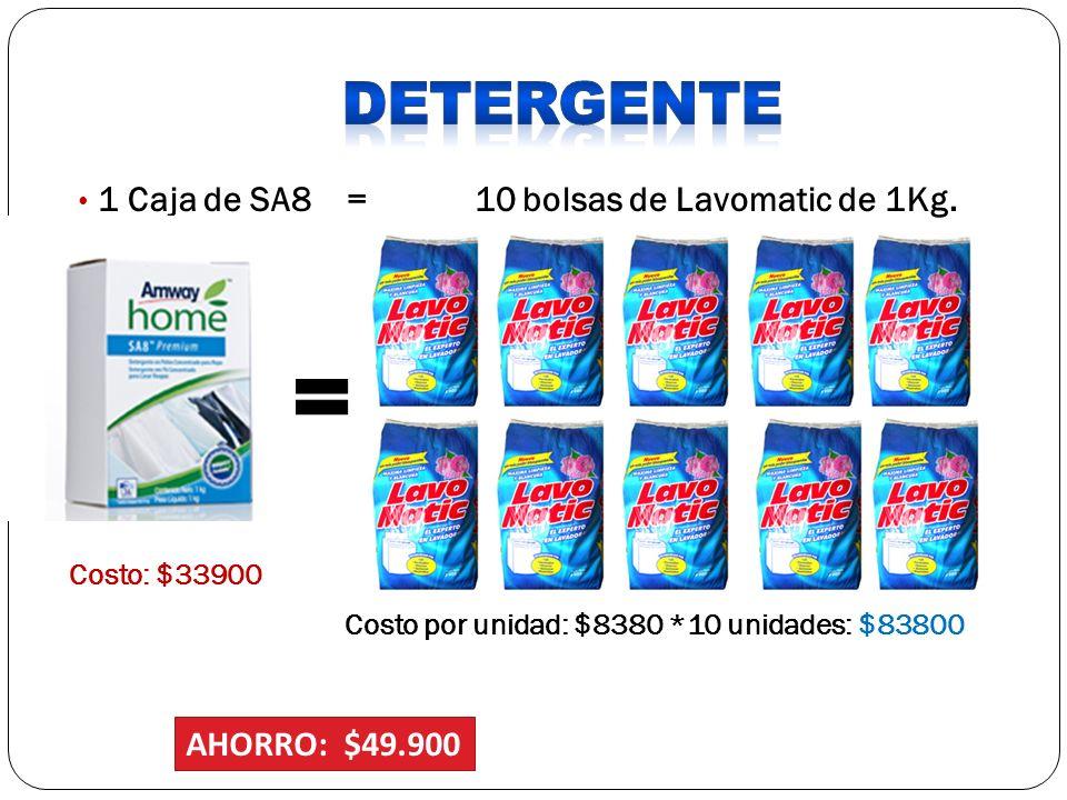 DETERGENTE 1 Caja de SA8 = 10 bolsas de Lavomatic de 1Kg.