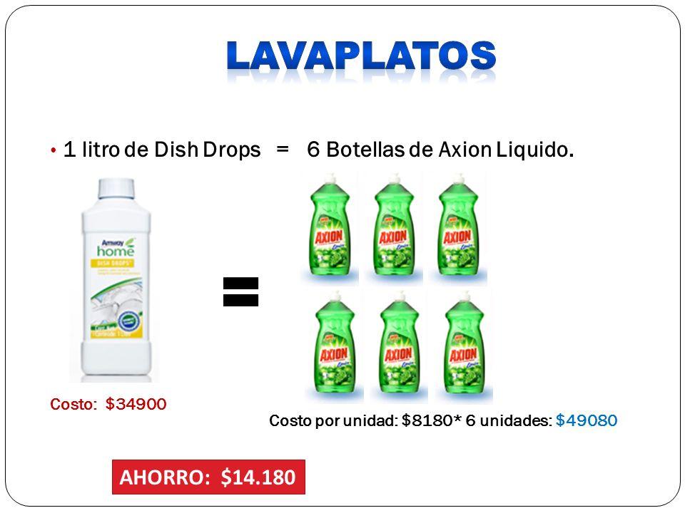 LAVAPLATOS 1 litro de Dish Drops = 6 Botellas de Axion Liquido.