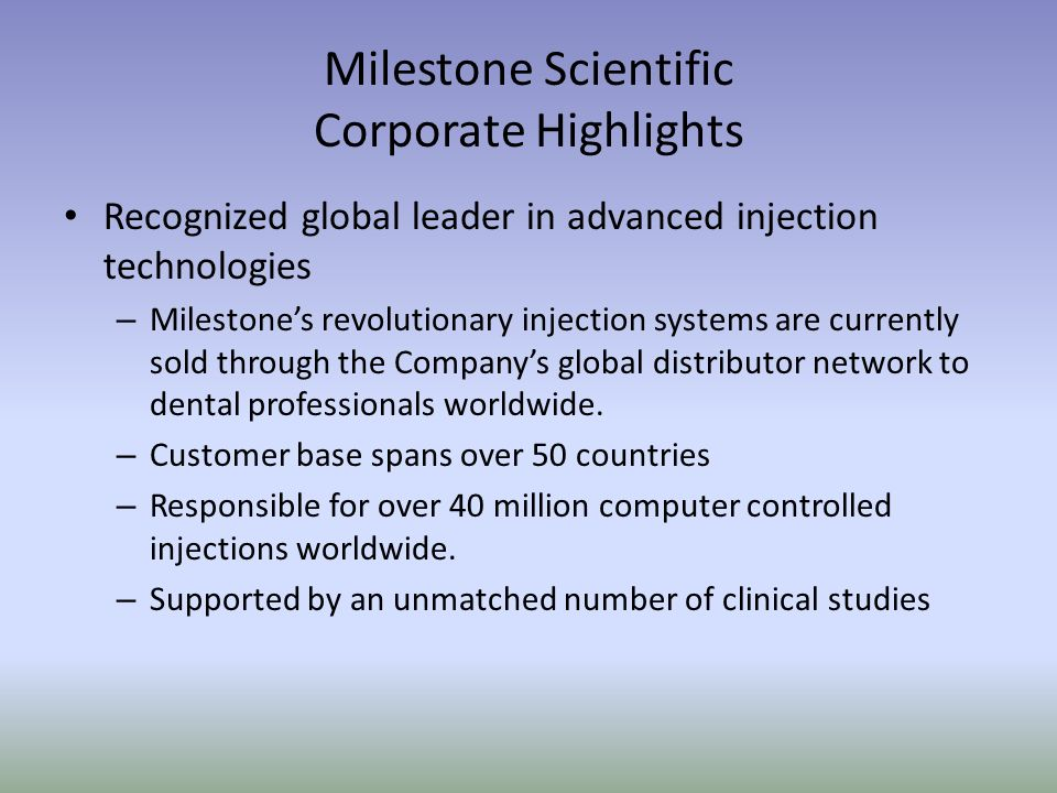 Milestone Scientific Corporate Highlights