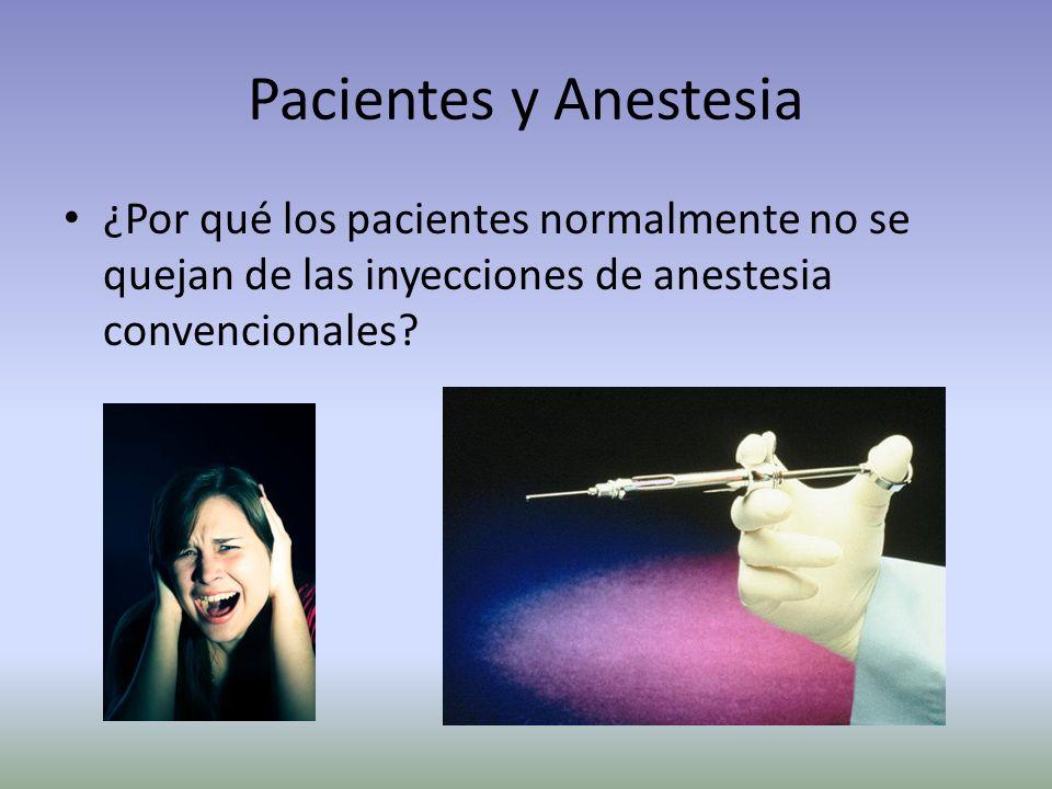 Pacientes y Anestesia ¿Por qué los pacientes normalmente no se quejan de las inyecciones de anestesia convencionales
