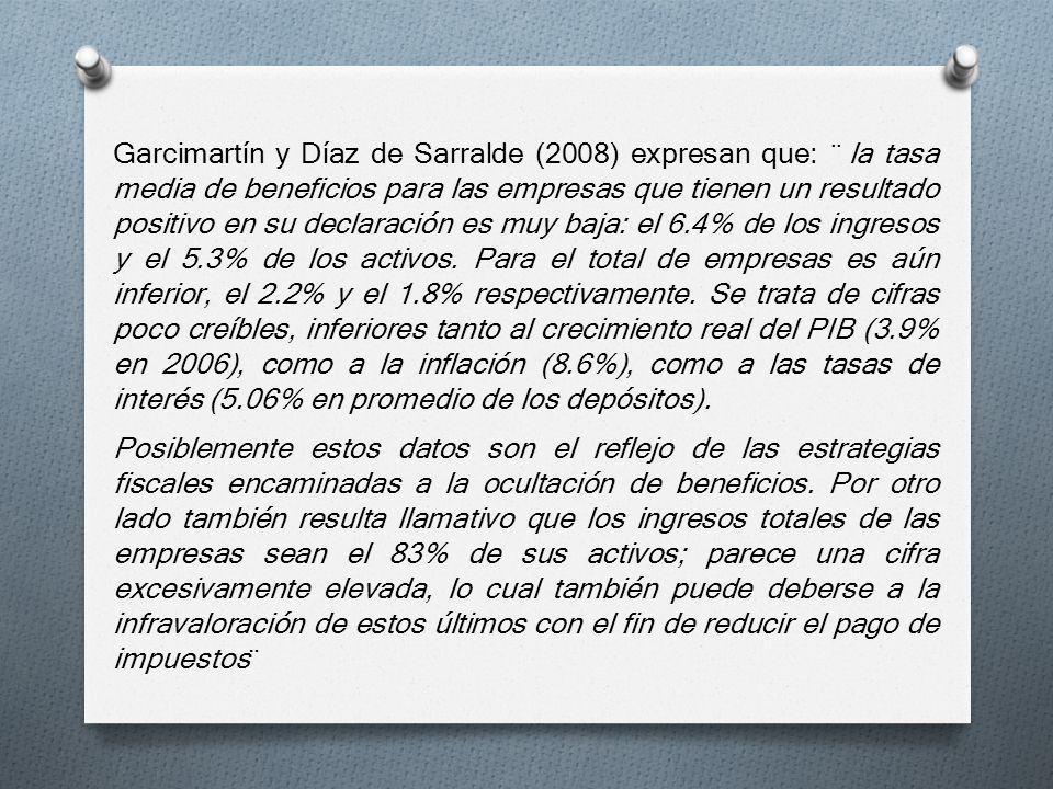 Garcimartín y Díaz de Sarralde (2008) expresan que: ¨ la tasa media de beneficios para las empresas que tienen un resultado positivo en su declaración es muy baja: el 6.4% de los ingresos y el 5.3% de los activos. Para el total de empresas es aún inferior, el 2.2% y el 1.8% respectivamente. Se trata de cifras poco creíbles, inferiores tanto al crecimiento real del PIB (3.9% en 2006), como a la inflación (8.6%), como a las tasas de interés (5.06% en promedio de los depósitos).
