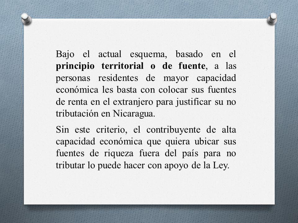 Bajo el actual esquema, basado en el principio territorial o de fuente, a las personas residentes de mayor capacidad económica les basta con colocar sus fuentes de renta en el extranjero para justificar su no tributación en Nicaragua.