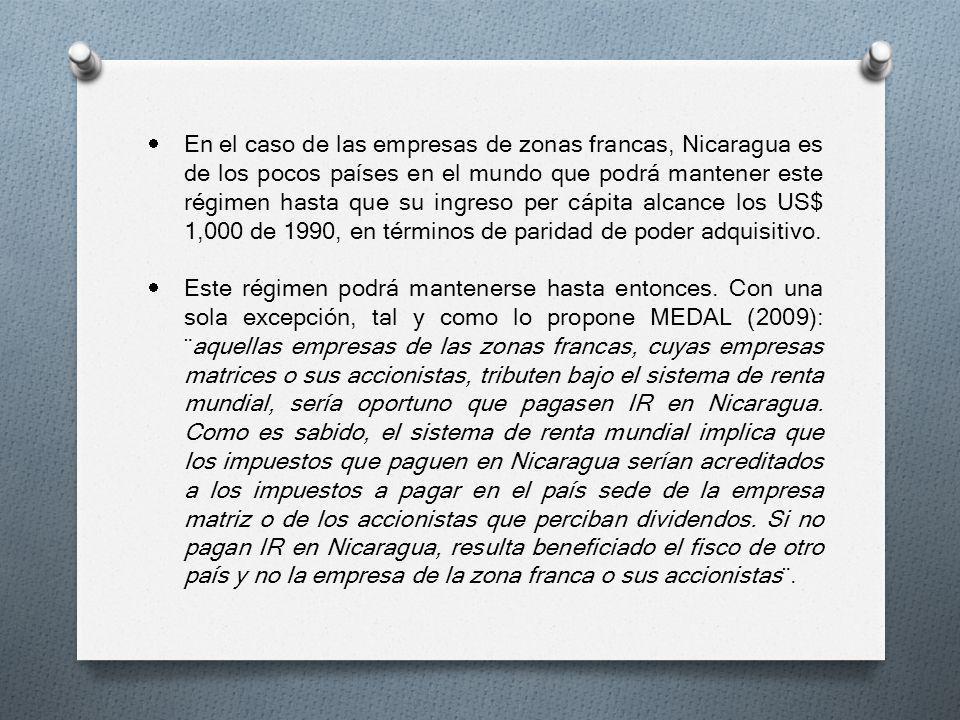 En el caso de las empresas de zonas francas, Nicaragua es de los pocos países en el mundo que podrá mantener este régimen hasta que su ingreso per cápita alcance los US$ 1,000 de 1990, en términos de paridad de poder adquisitivo.