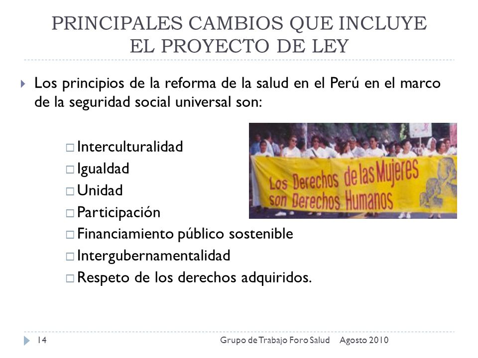 PRINCIPALES CAMBIOS QUE INCLUYE EL PROYECTO DE LEY