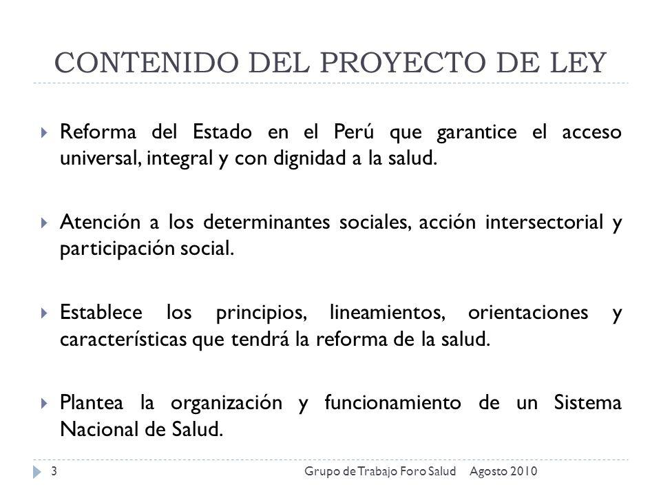 CONTENIDO DEL PROYECTO DE LEY
