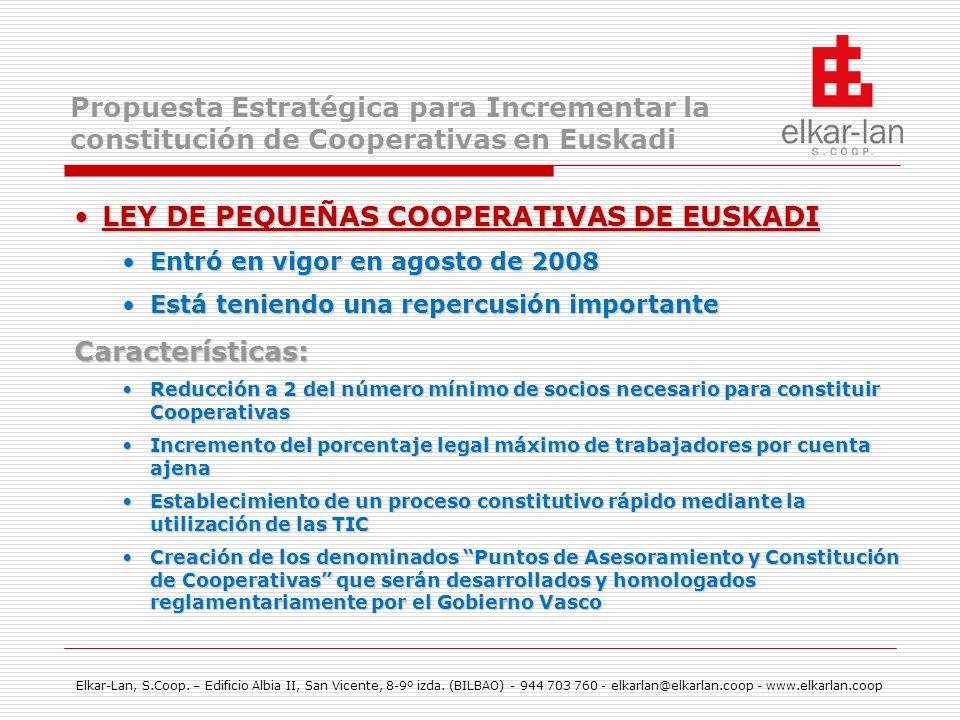 LEY DE PEQUEÑAS COOPERATIVAS DE EUSKADI