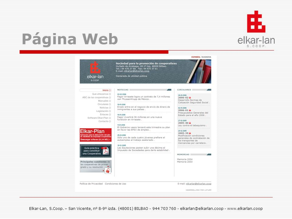 Página Web Elkar-Lan, S.Coop. – San Vicente, nº 8-9º izda.