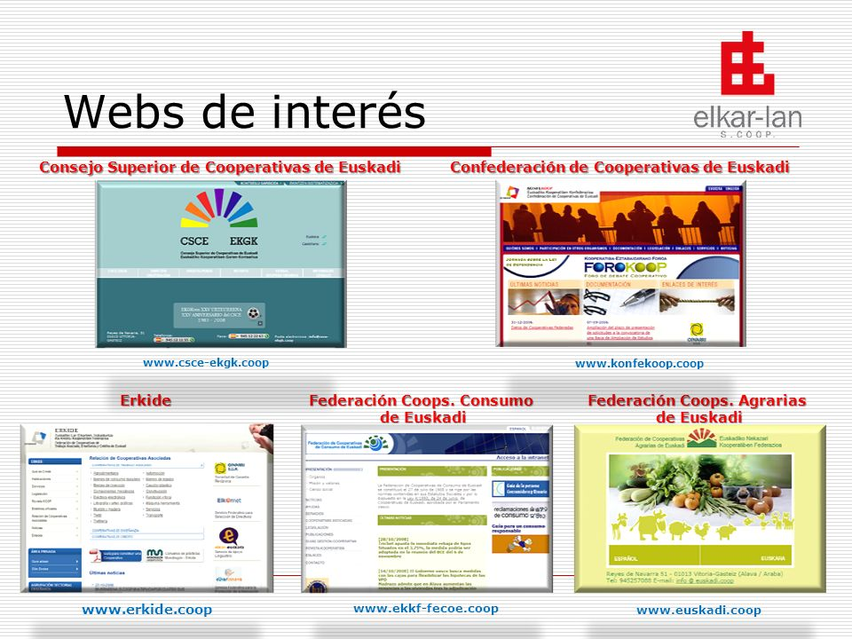 Webs de interés Consejo Superior de Cooperativas de Euskadi