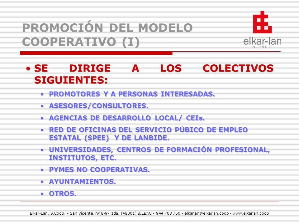 PROMOCIÓN DEL MODELO COOPERATIVO (I)