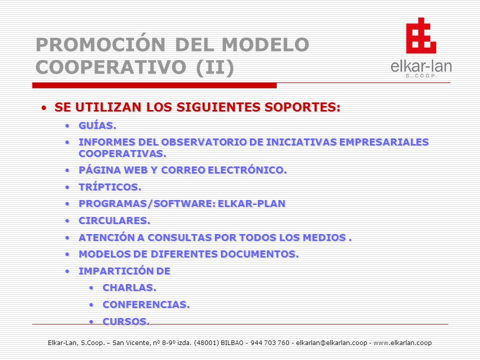 PROMOCIÓN DEL MODELO COOPERATIVO (II)