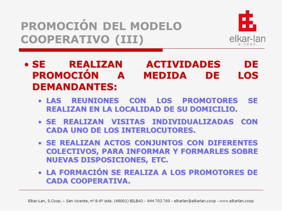 PROMOCIÓN DEL MODELO COOPERATIVO (III)