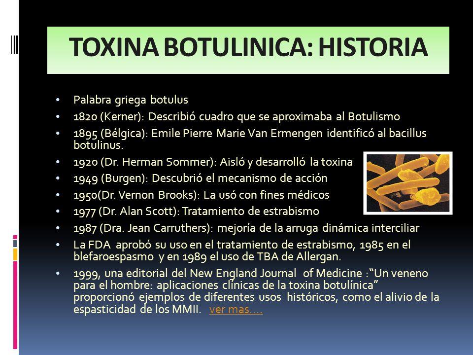 TOXINA BOTULINICA: HISTORIA