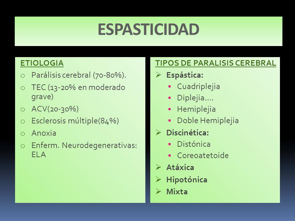 ESPASTICIDAD ETIOLOGIA Parálisis cerebral (70-80%).