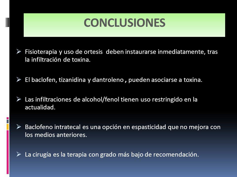 CONCLUSIONES Fisioterapia y uso de ortesis deben instaurarse inmediatamente, tras la infiltración de toxina.