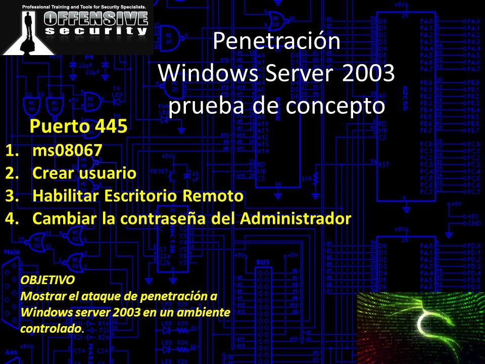 Penetración Windows Server 2003 prueba de concepto