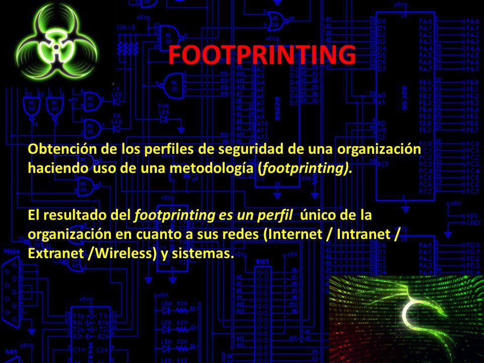 FOOTPRINTING Obtención de los perfiles de seguridad de una organización haciendo uso de una metodología (footprinting).