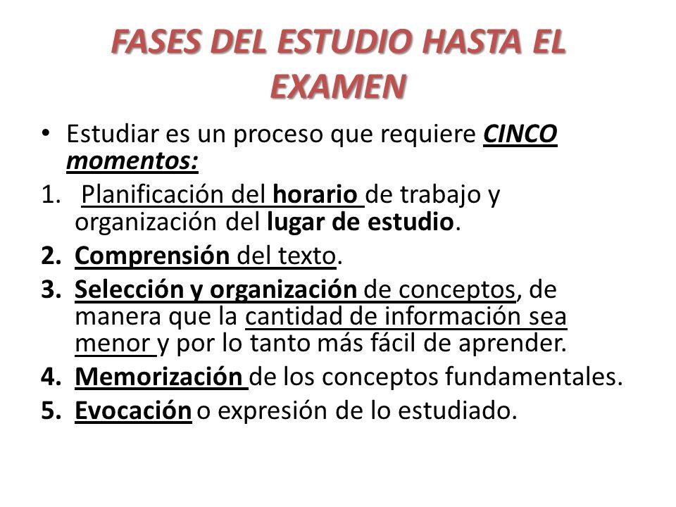 FASES DEL ESTUDIO HASTA EL EXAMEN