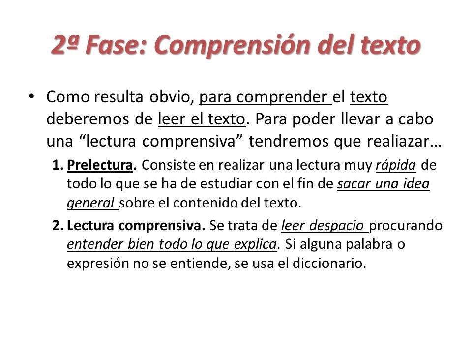 2ª Fase: Comprensión del texto