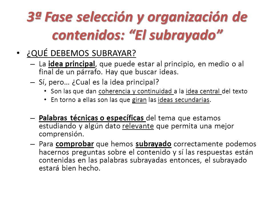 3ª Fase selección y organización de contenidos: El subrayado
