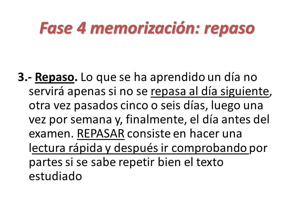 Fase 4 memorización: repaso