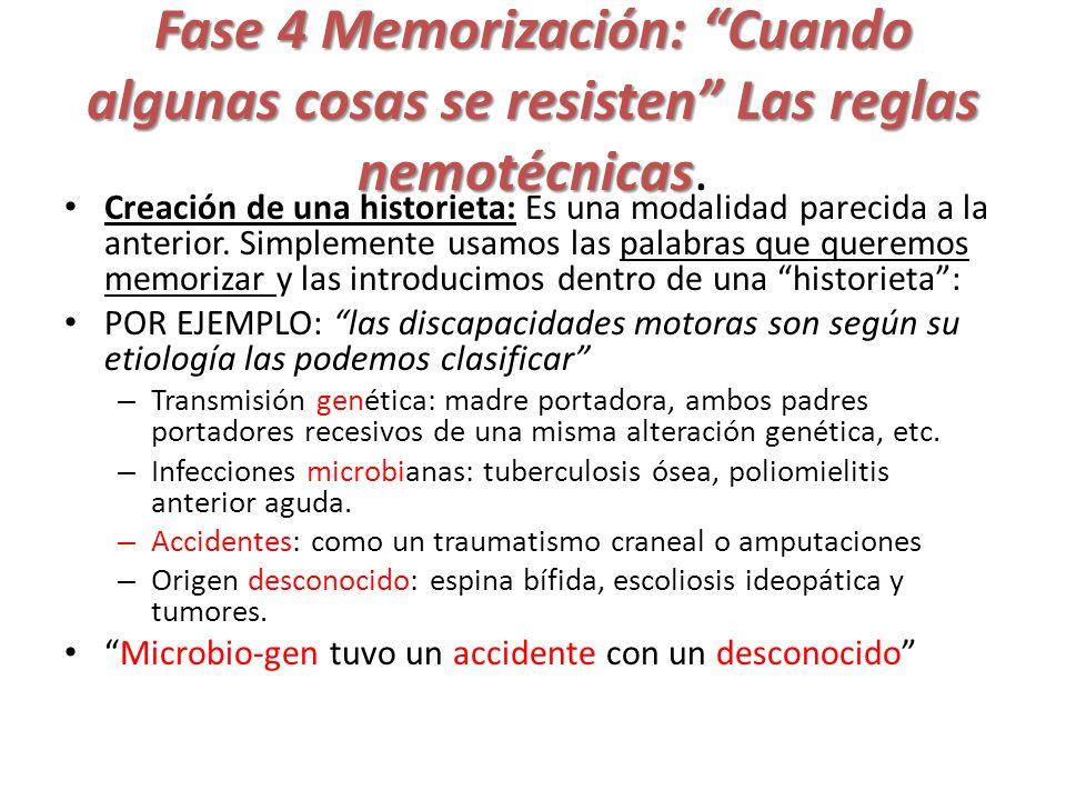 Fase 4 Memorización: Cuando algunas cosas se resisten Las reglas nemotécnicas.