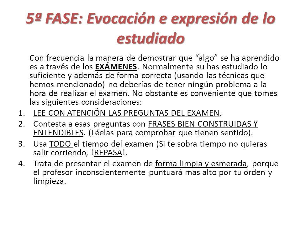 5ª FASE: Evocación e expresión de lo estudiado