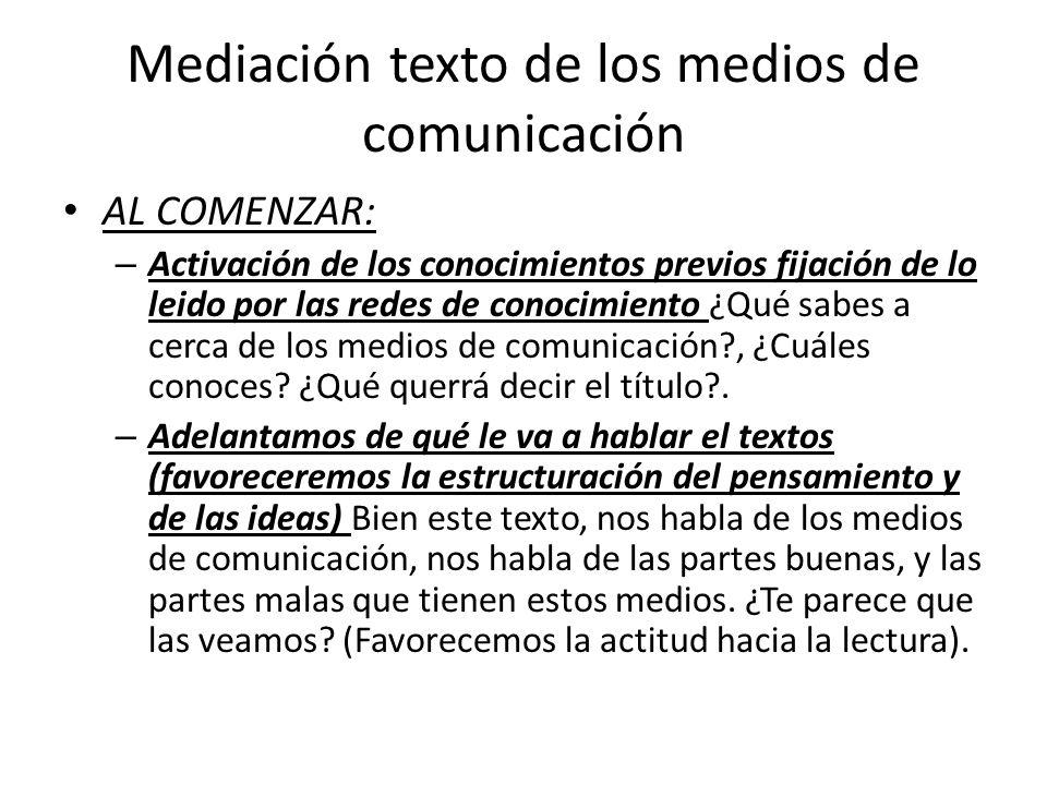 Mediación texto de los medios de comunicación