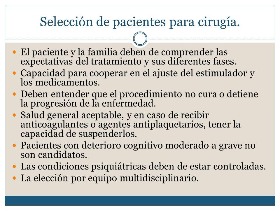 Selección de pacientes para cirugía.