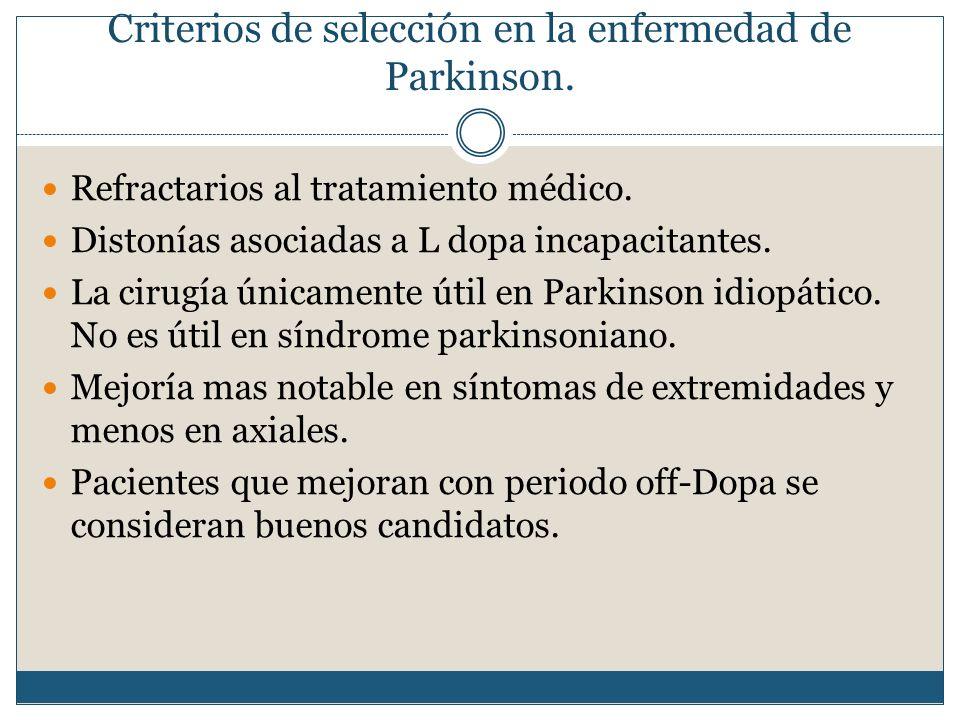 Criterios de selección en la enfermedad de Parkinson.