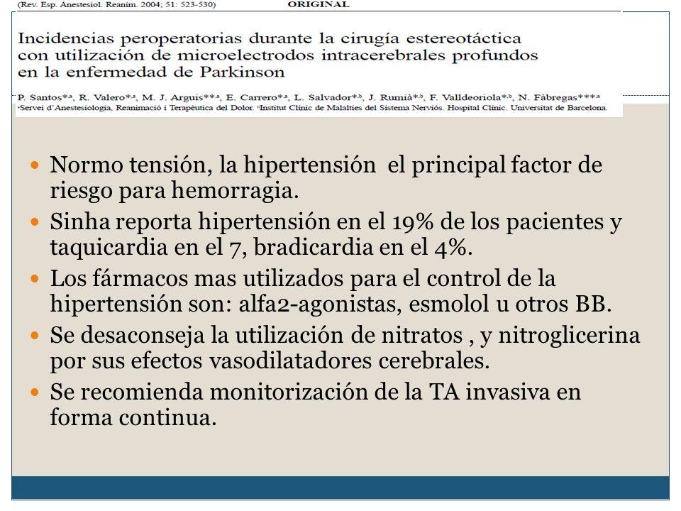 Manejo hemodinámico. Normo tensión, la hipertensión el principal factor de riesgo para hemorragia.