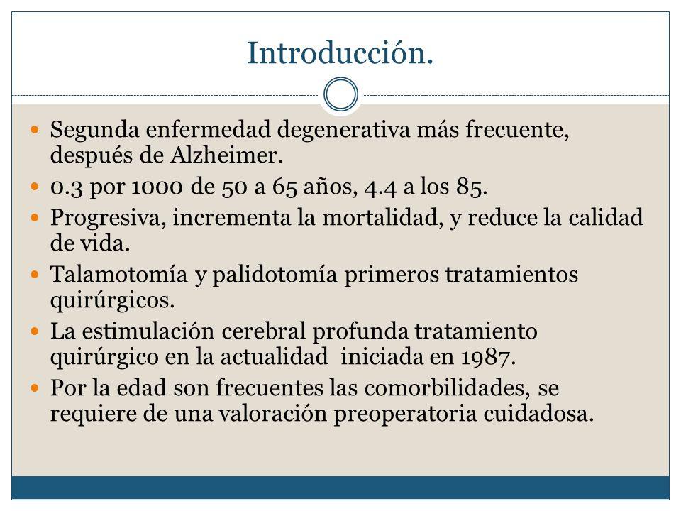 Introducción. Segunda enfermedad degenerativa más frecuente, después de Alzheimer. 0.3 por 1000 de 50 a 65 años, 4.4 a los 85.