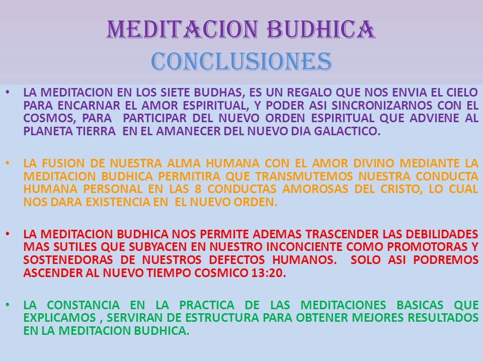 MEDITACION BUDHICA CONCLUSIONes