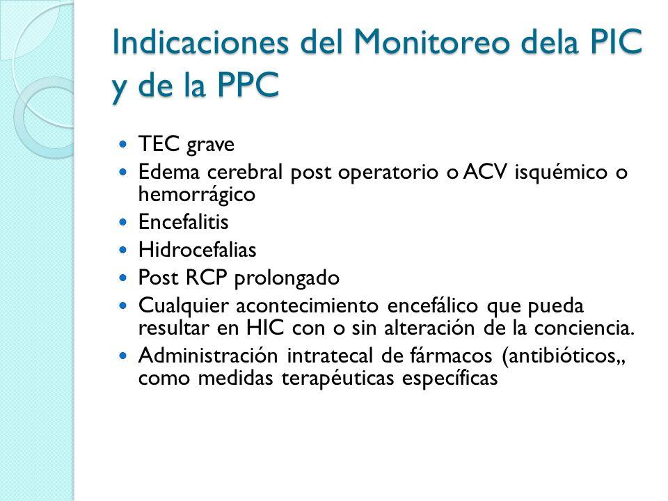 Indicaciones del Monitoreo dela PIC y de la PPC