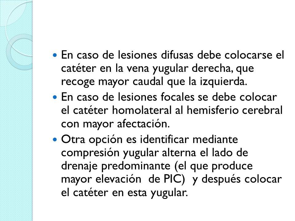 En caso de lesiones difusas debe colocarse el catéter en la vena yugular derecha, que recoge mayor caudal que la izquierda.
