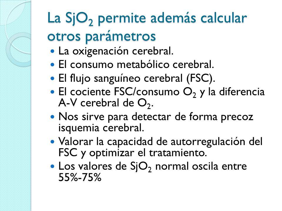 La SjO2 permite además calcular otros parámetros