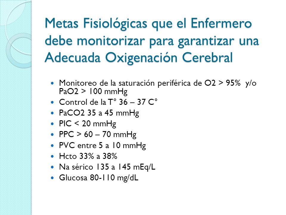 Metas Fisiológicas que el Enfermero debe monitorizar para garantizar una Adecuada Oxigenación Cerebral