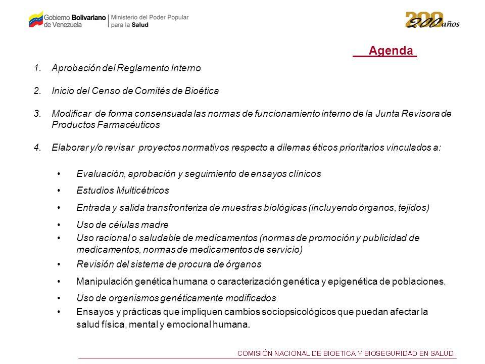 Agenda Aprobación del Reglamento Interno