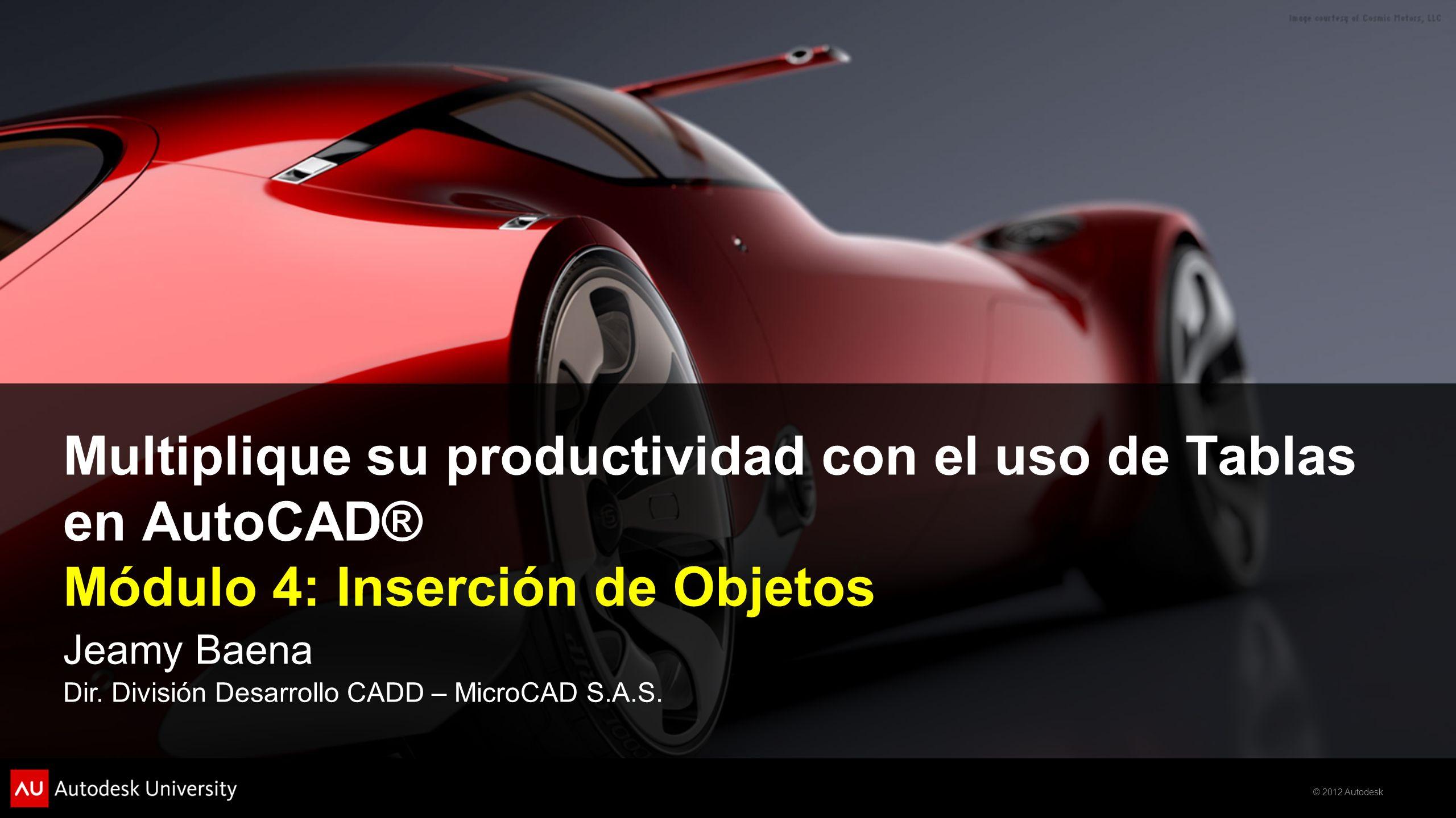 Multiplique su productividad con el uso de Tablas en AutoCAD® Módulo 4: Inserción de Objetos