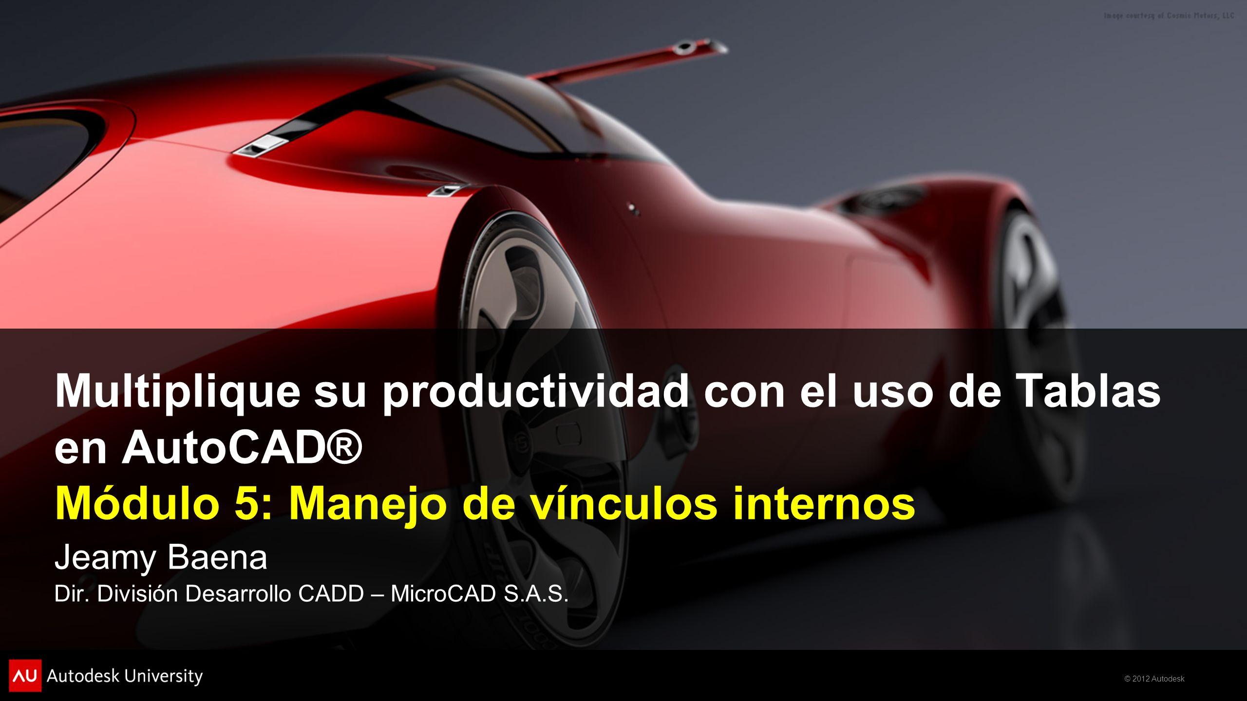 Multiplique su productividad con el uso de Tablas en AutoCAD® Módulo 5: Manejo de vínculos internos