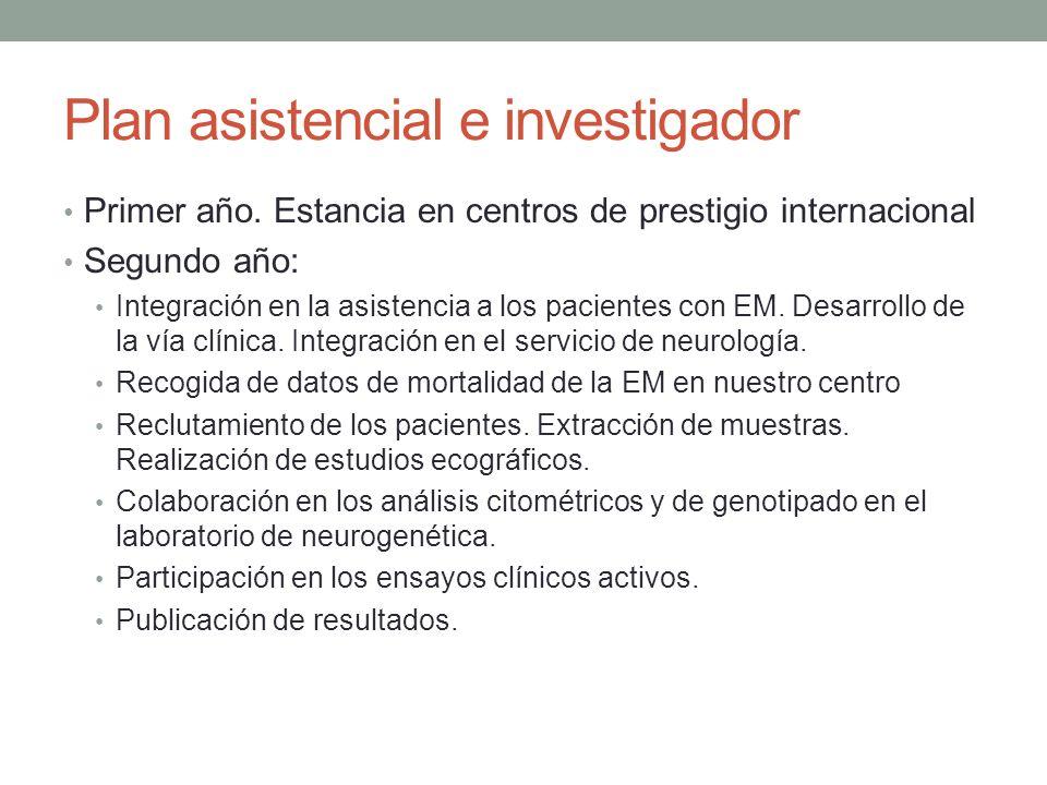 Plan asistencial e investigador