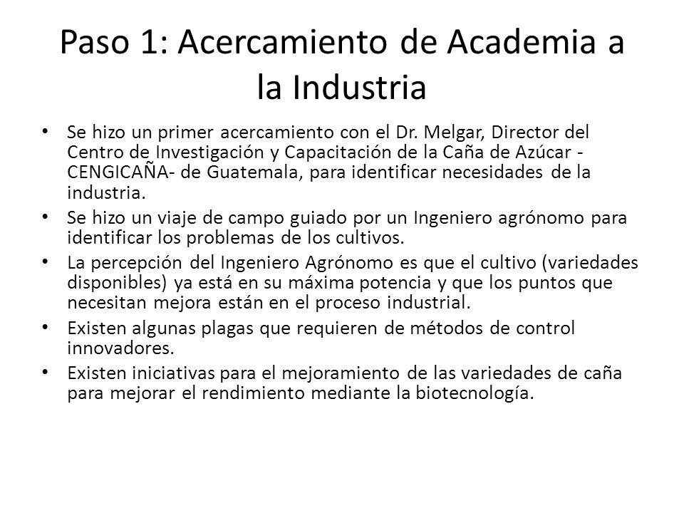 Paso 1: Acercamiento de Academia a la Industria