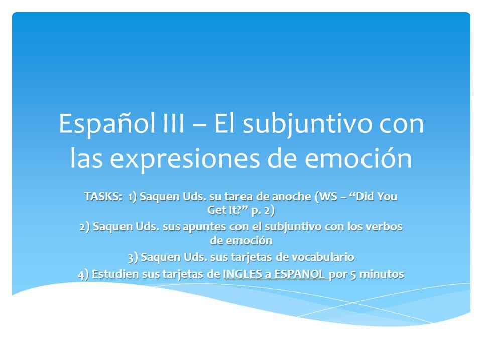 Español III – El subjuntivo con las expresiones de emoción