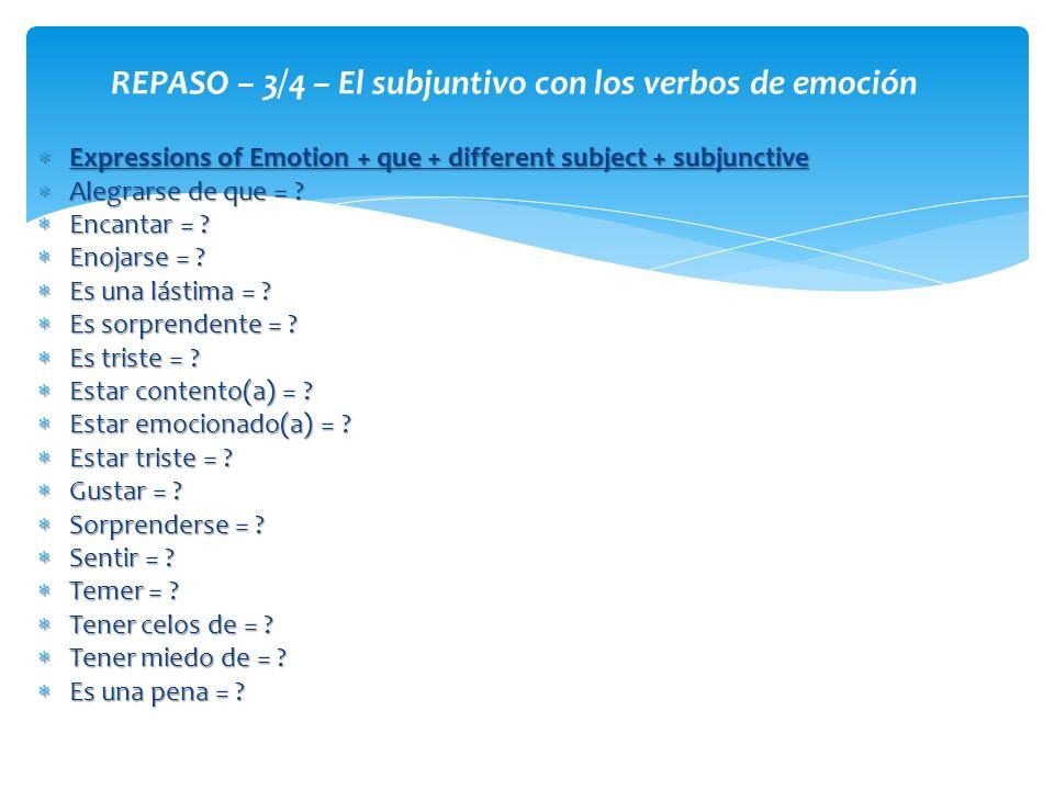 REPASO – 3/4 – El subjuntivo con los verbos de emoción
