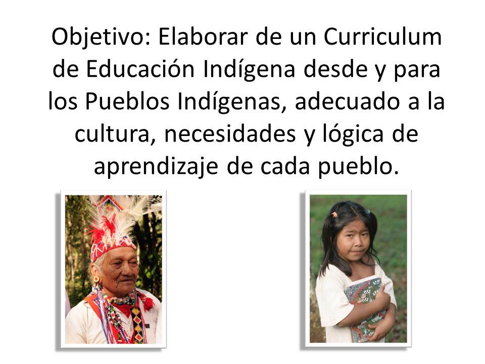 Objetivo: Elaborar de un Curriculum de Educación Indígena desde y para los Pueblos Indígenas, adecuado a la cultura, necesidades y lógica de aprendizaje de cada pueblo.
