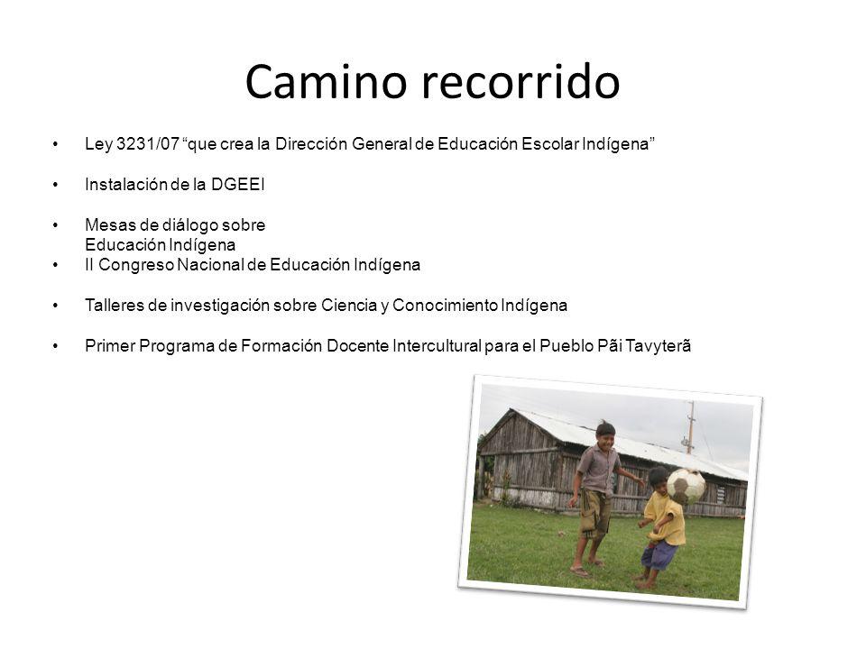 Camino recorrido Ley 3231/07 que crea la Dirección General de Educación Escolar Indígena Instalación de la DGEEI.