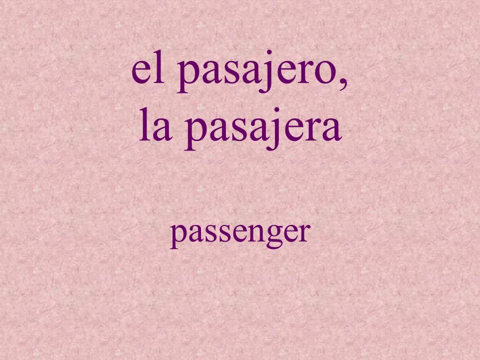 el pasajero, la pasajera
