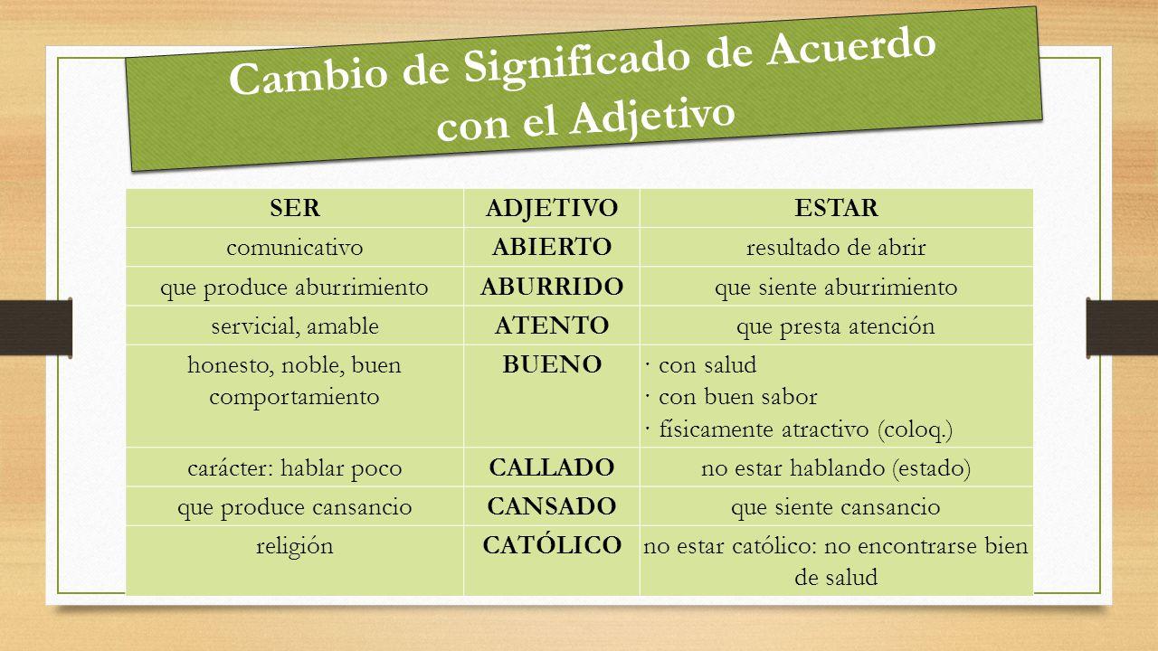 Cambio de Significado de Acuerdo con el Adjetivo