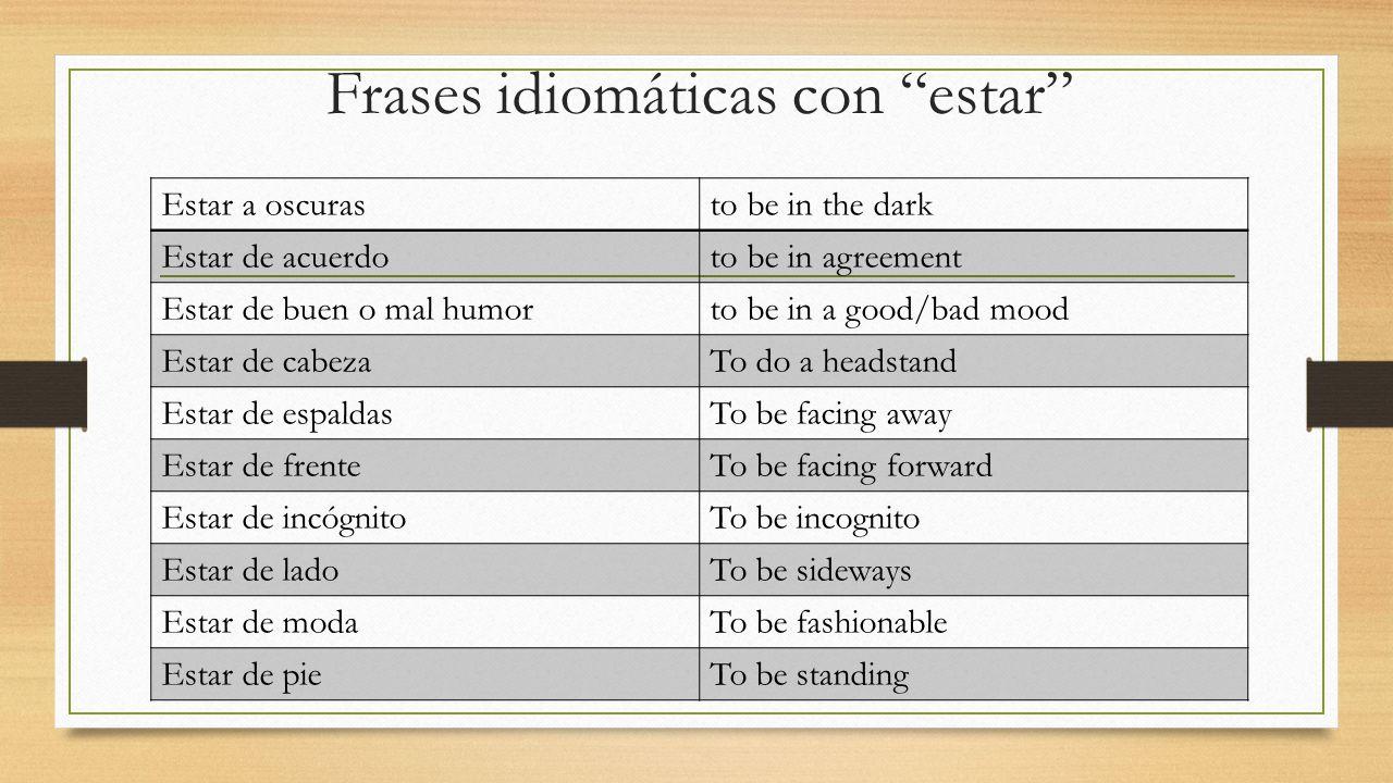 Frases idiomáticas con estar