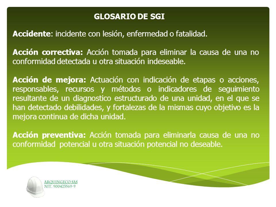 GLOSARIO DE SGI Accidente: incidente con lesión, enfermedad o fatalidad.