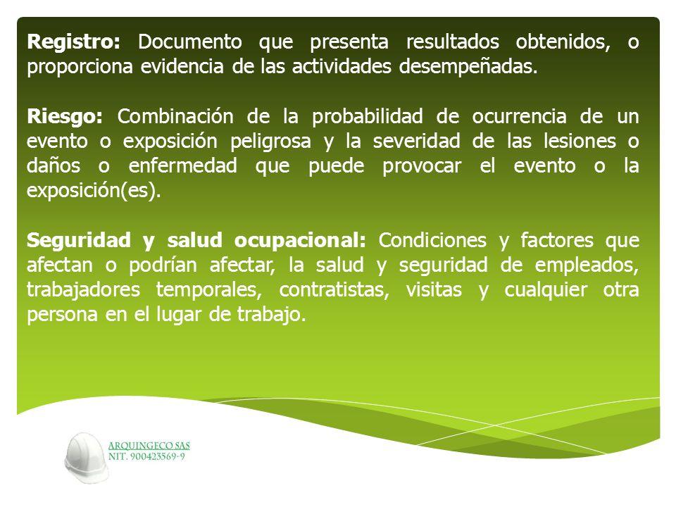 Registro: Documento que presenta resultados obtenidos, o proporciona evidencia de las actividades desempeñadas.